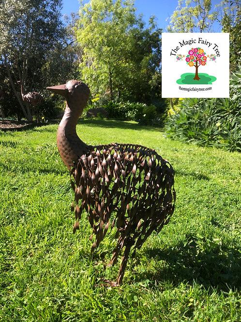Metal standing emu chick garden statue