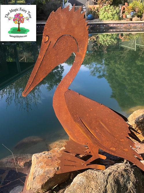 Large Metal Pelican Garden Statue