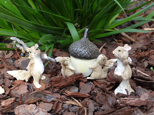 Squirrel pack of 3 fairy garden ornaments.