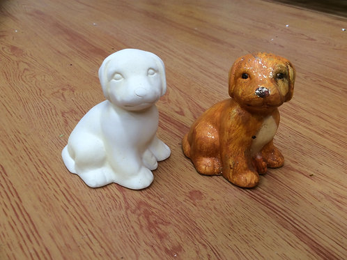 Ceramic ready to paint sitting lab puppy pottery figurine