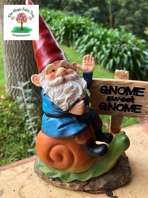 Gnome Sweet Gnome - Garden gnome riding snail
