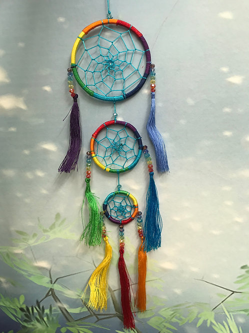 Triple rainbow dreamcatcher with crystals