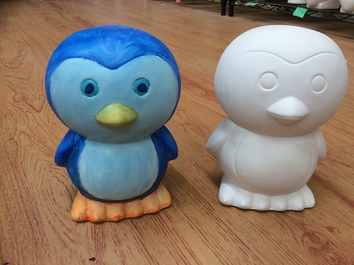 Ready to paint large penguin ceramic money box bank pottery