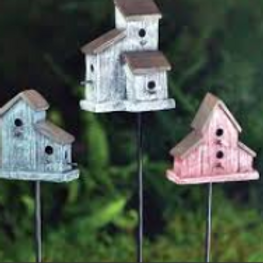 Fiddlehead fairy garden rustic bird house