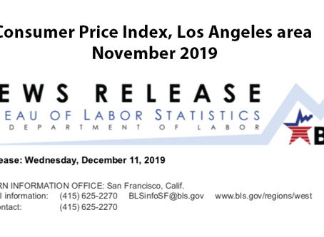 Consumer Price Index, Los Angeles Area – November 2019