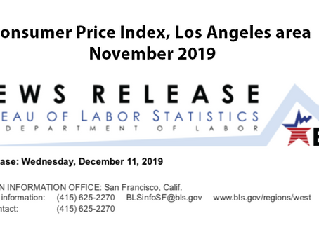 Consumer Price Index, Los Angeles Area – November 2019