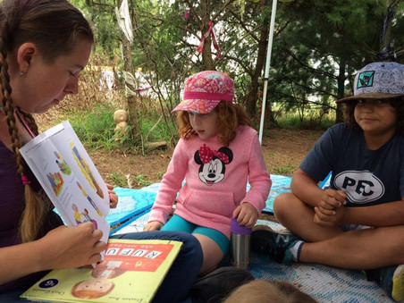 Story time at camp