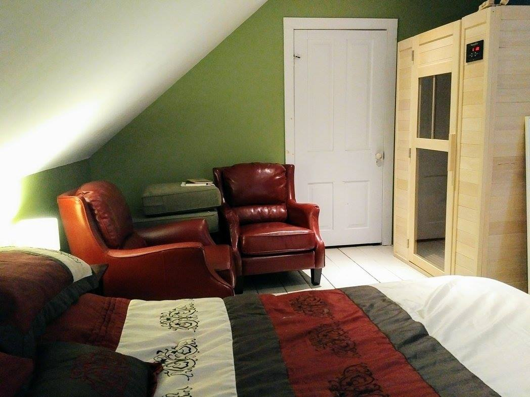 bedroom seating & infrared sauna