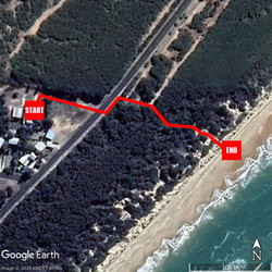 aerial view of cabins to beach
