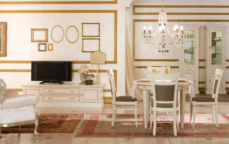 Гостиная Венеция в белом цвете
