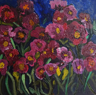 Red Field of Flowers on Canvas