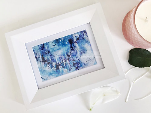Glaciers Original Abstract Print in White Frame
