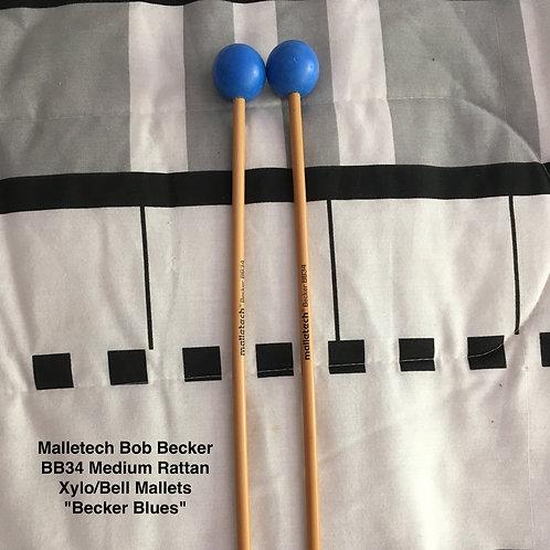 """Malletech Bob Becker BB34 Medium Rattan Xylo/Bell Mallets """"Becker Blues"""""""