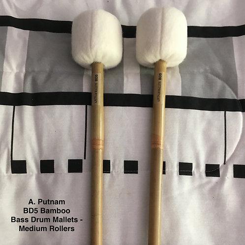 A. Putnam BD5 Bamboo Bass Drum Mallets - Medium Rollers