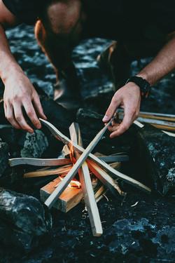 making a fire