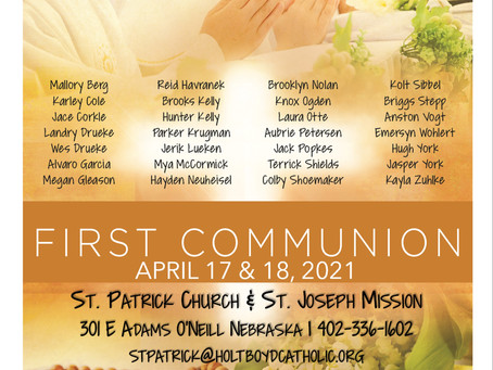 Sunday April 18th, 2021 - 3rd Sunday of Easter & First Communion