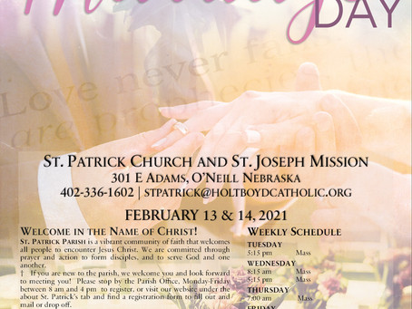 Sunday, February 14th - World Marriage Day