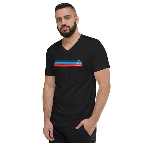 Dirty   Clean   Sterile   Unisex Short Sleeve V-Neck T-Shirt
