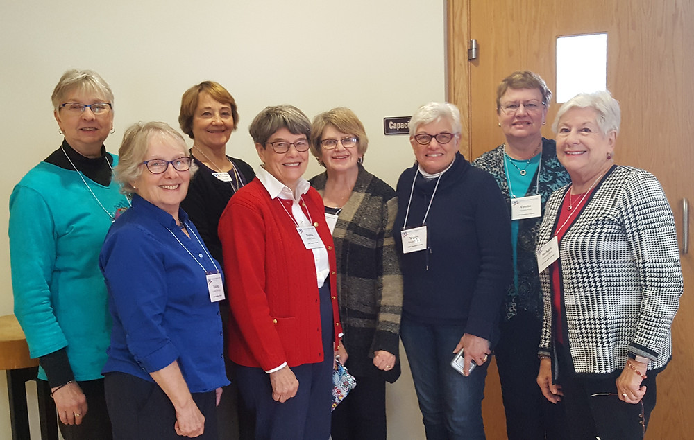 Pictured from left to right: Barb Johnson, Louise Mollinger, Mary Fran Lepeska, Donna Fowler, Nancy Haacke, Marge Palleon, Vonna Pitel, and Barb Hunt (president). Not pictured: Ellie Anderson