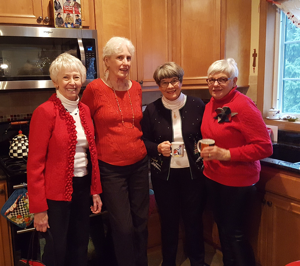 Delores Bogenrief, Claire Vanderslice, Donna Fowler and Marge Palleon pose for moment at the party