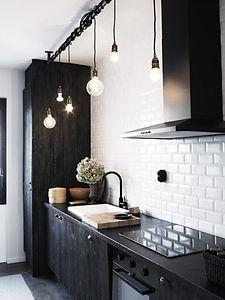 cuisine noir et carreux metro