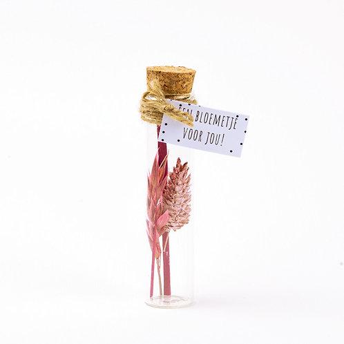 Droogbloem boeket pink 11cm