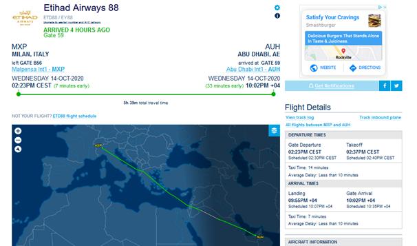 EY88 10/14/20 (FlightAware)