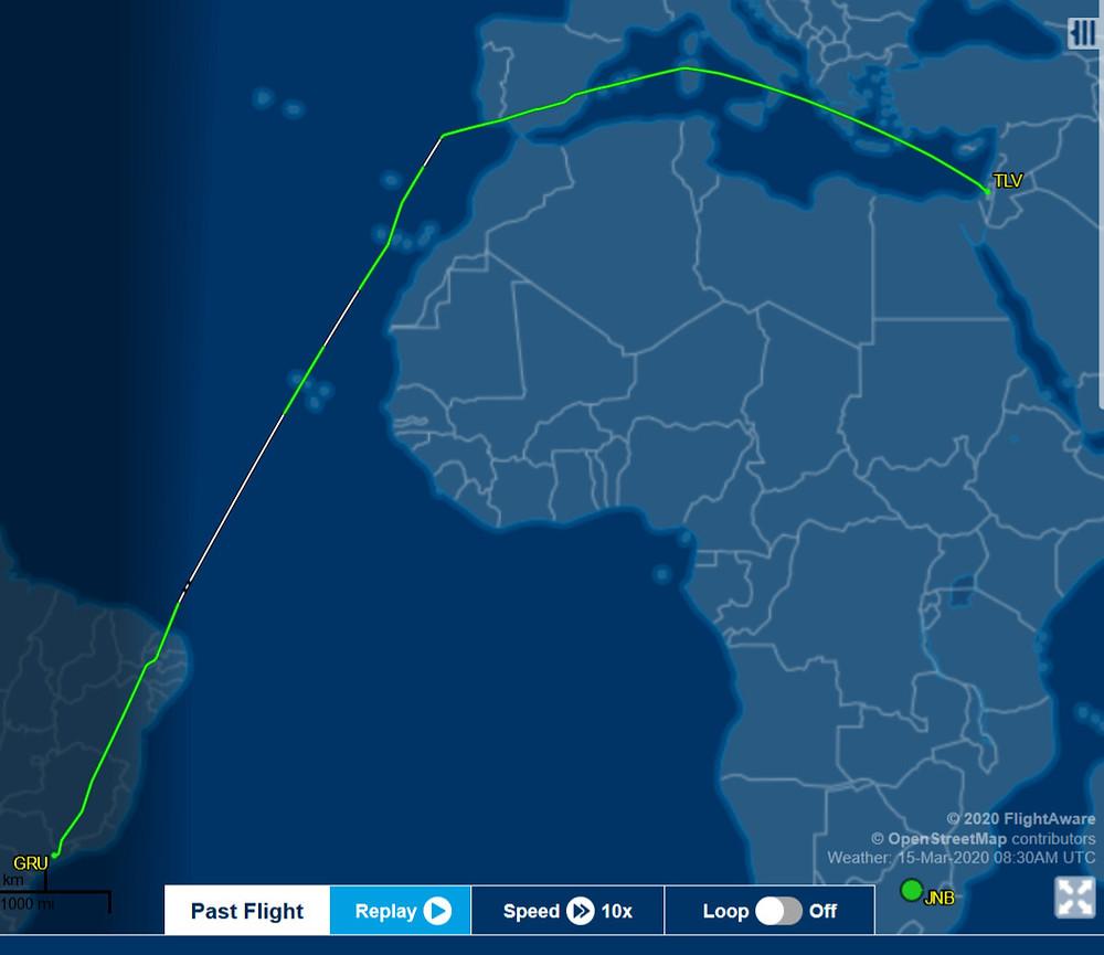 Latam 712 Sao Paulo - Tel Aviv avoiding African airspace