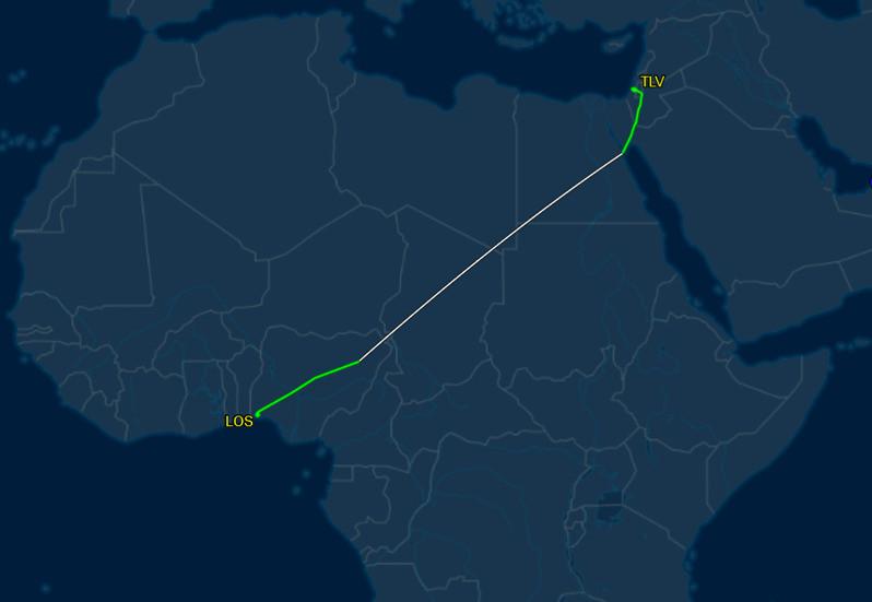Air Peace 7801 Tel Aviv - Lagos overflying Africa