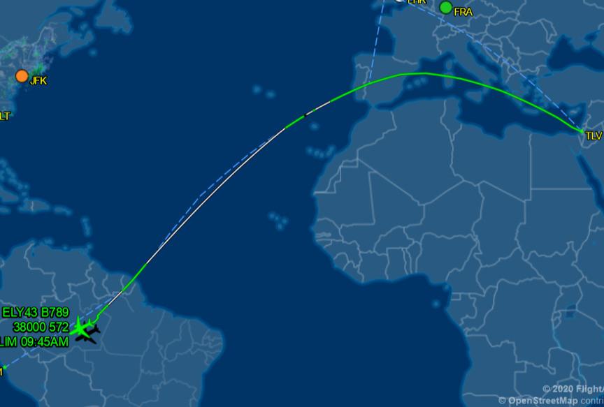 El Al Flight 43 Tel Aviv to Lima 3/18/20