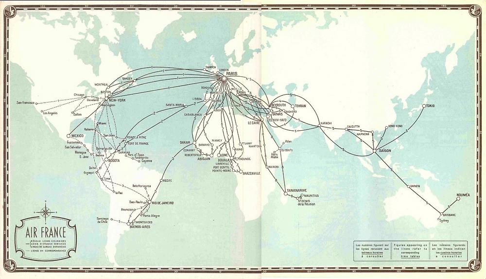 Air France Route Map Tel Aviv - Tehran - Bombay route