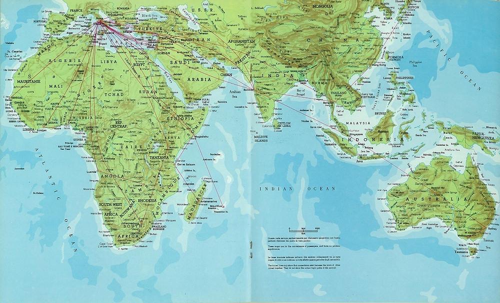 Alitalia Route Map 1979: Tel Aviv - Bombay - Singapore - Sydney - Melbourne route