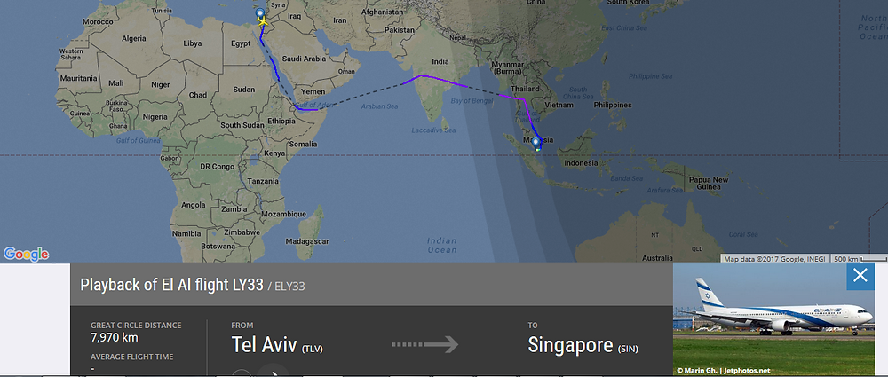 Prime Minister Netanyahu's air route from Tel Aviv to Singapore, February 2017