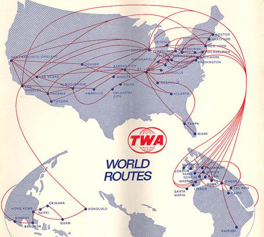 TWA Route Map 1973 -- Tel Aviv - Bombay Route