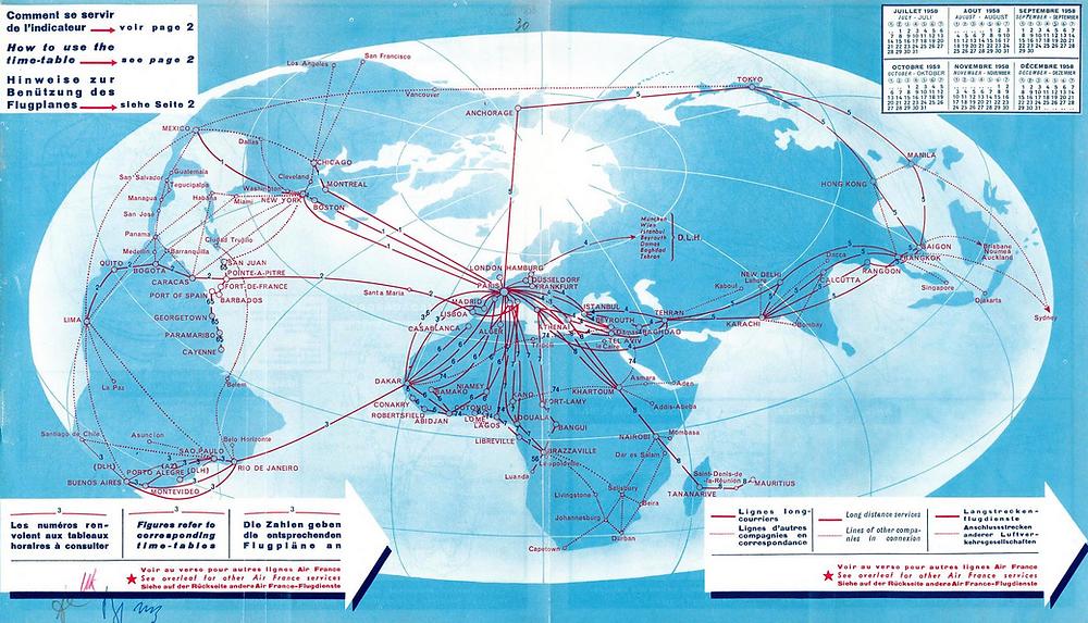 Air France Route Map -- Tel Aviv -- Tehran -- Bombay route