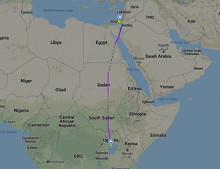 LY 5057 first El Al flight over Sudan