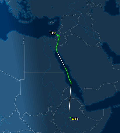 actual flight track Addis Ababa to Tel Aviv