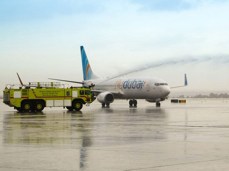 Flydubai water cannon first arrival in TLV 11//26/20