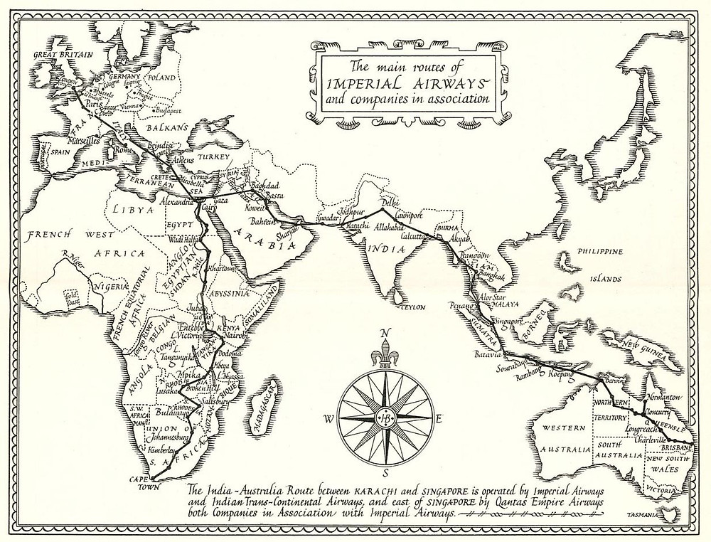 Imperial Airways Route Map -- Gaza stopover