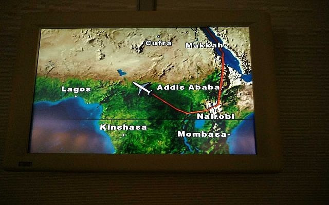 actual air route flow Prime Minister Netanyahu's visit to N'djemena, Chad