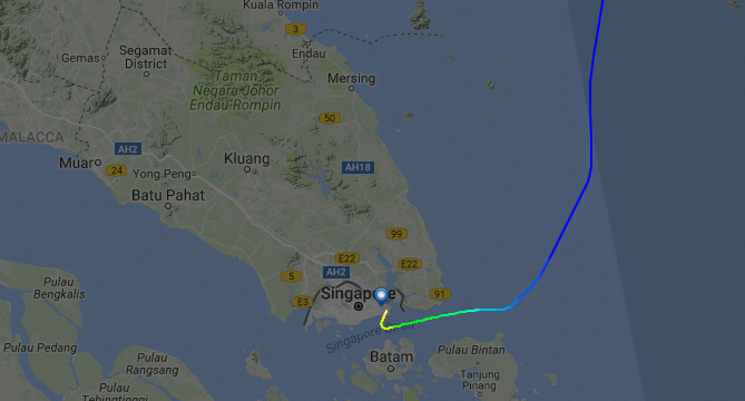Prime Minisister Netanyahu's air route fromo Tel Aviv to Singapore: The vectored approach to Singapore's Changi Airport, bypassing Indonesian and Malaysian airspace