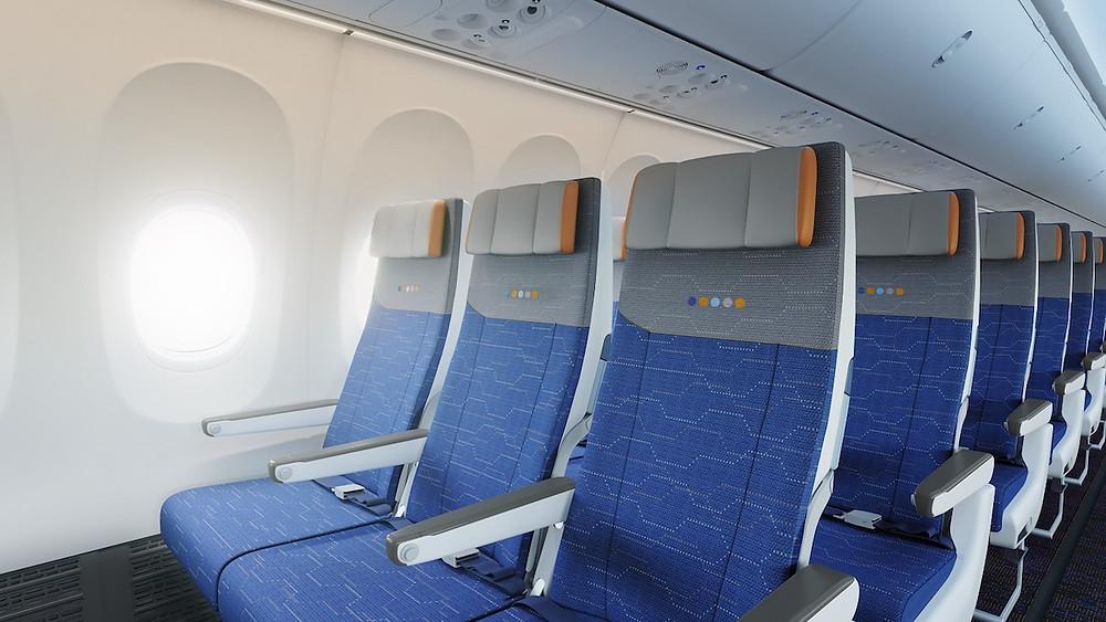 Flydubai 737 MAX economy cabin interior