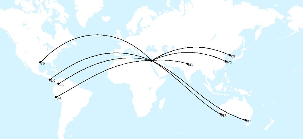 El Al Repatriation and Cargo New Routes Route Map, Mar/Apr 2020