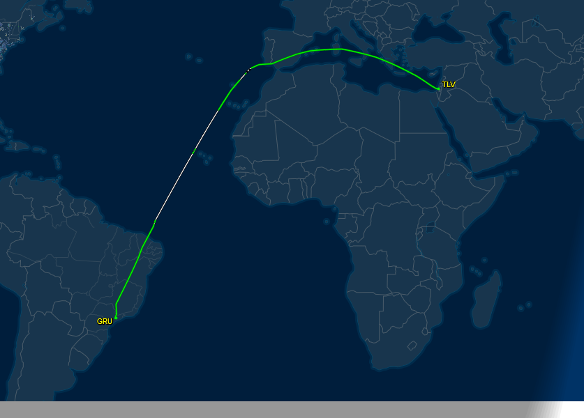 Actual track flown LATAM from Sao Paulo to Tel Aviv