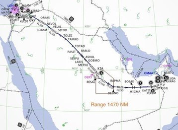 LY973 Flight Plan over Saudi Arabia