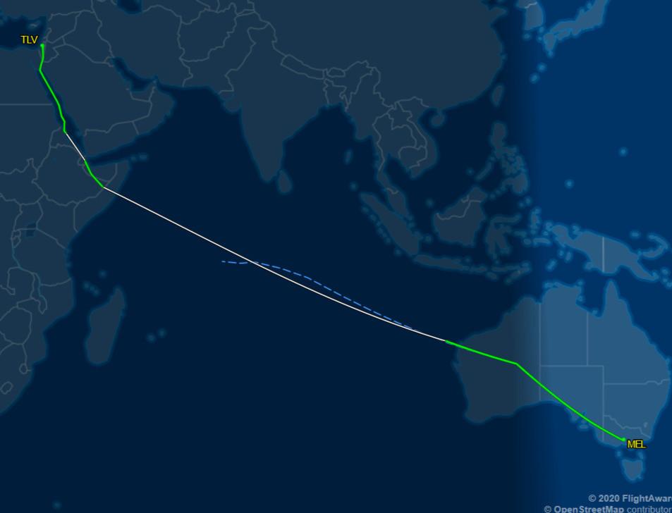 El Al Flight 86 Melbourne - Tel Aviv 4/3/20 repatriation flight