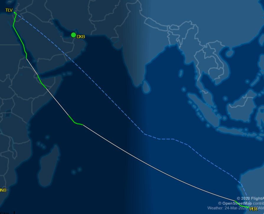 El Al Flight 88 Perth -- Tel Avvi repatriation flight 3/24/20