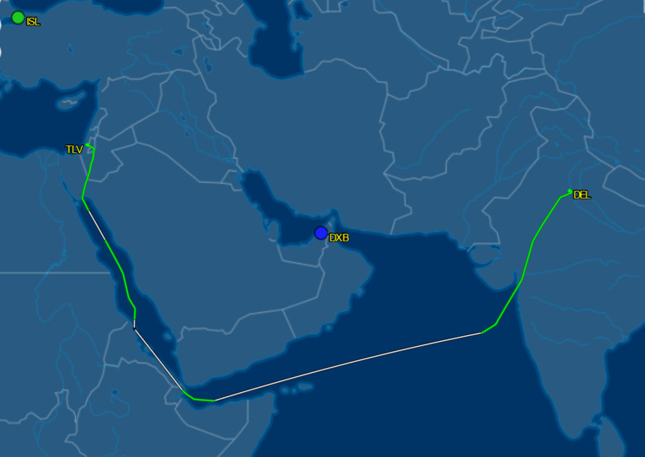 El Al 73 repatriation flight Tel Aviv to Delhi 3/26/20