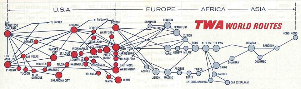 TWA Route Map 1967: Tel Aviv - Bombay route