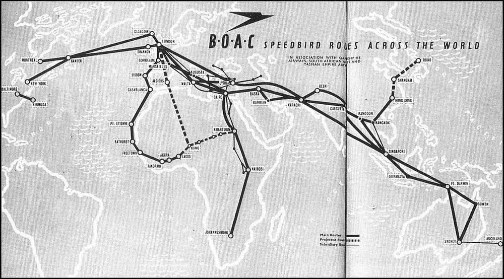 BOAC Route Map -- Lydda stopover